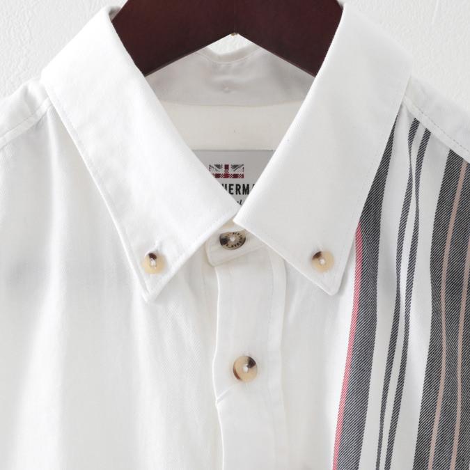 ベンシャーマン メンズ 長袖シャツ ストライプ プレース Ben Sherman 2色 ダークブルー オフホワイト