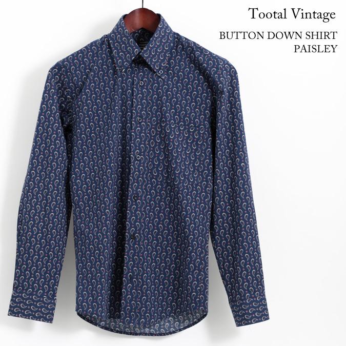 Tootal Vintage トゥータル ヴィンテージ ボタンダウン 長袖シャツ ペイズリー プリント 18SS メンズ