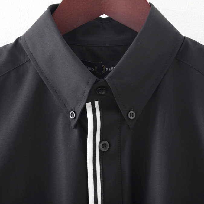 フレッドペリー メンズ 長袖シャツ Fred Perry テープ プラケット 3色 ブラック スノーホワイト カーボンブルー ビジネス プレッピー 正規販売店
