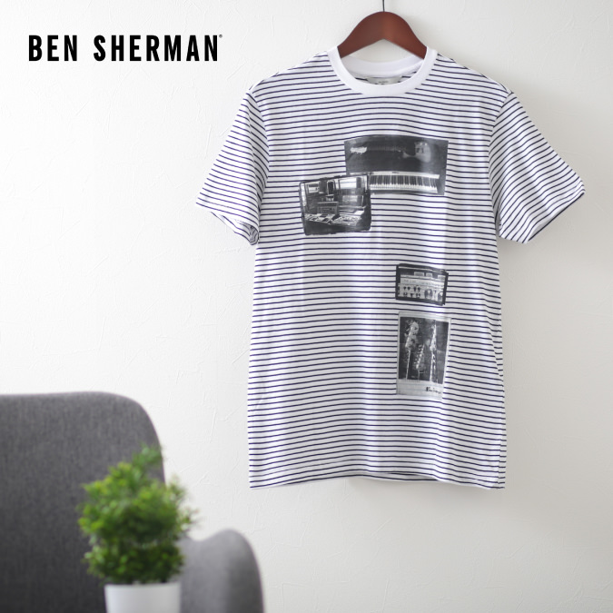 ベンシャーマン メンズ Tシャツ ストライプ スタジオ ミュージック オン Ben Sherman ホワイト レギュラーフィット