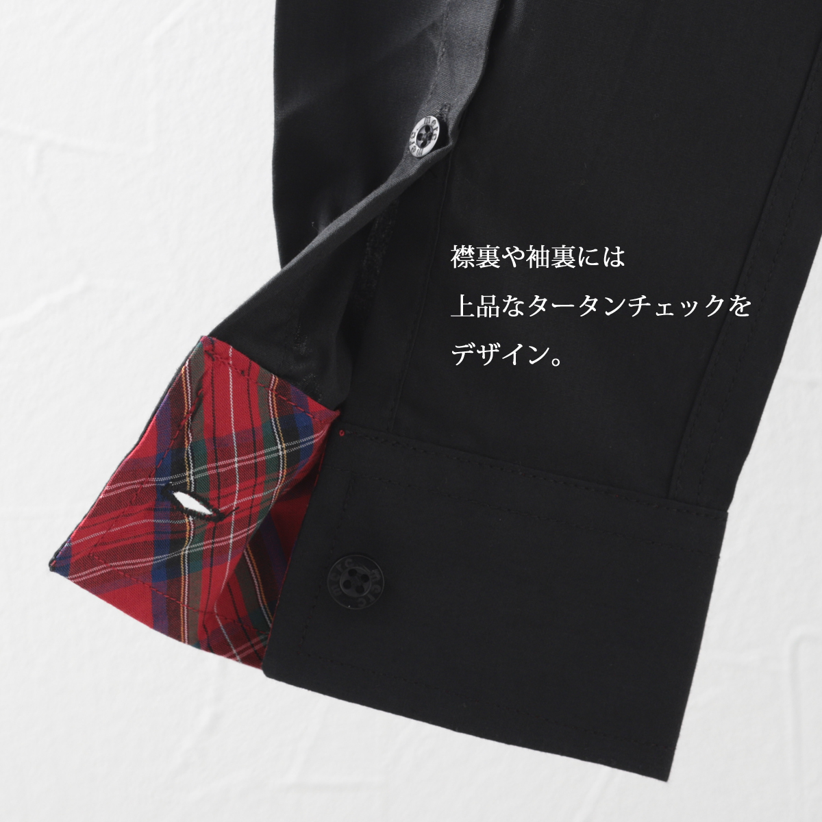長袖シャツ ボタンダウン タータンチェックトリム ブラック ホワイト 2色 モッズファッション メンズ Merc London メルクロンドン