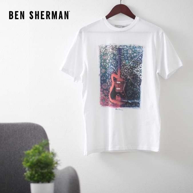 ベンシャーマン メンズ Tシャツ ギター ペイズリー Ben Sherman ホワイト 花柄 フラワー レギュラーフィット