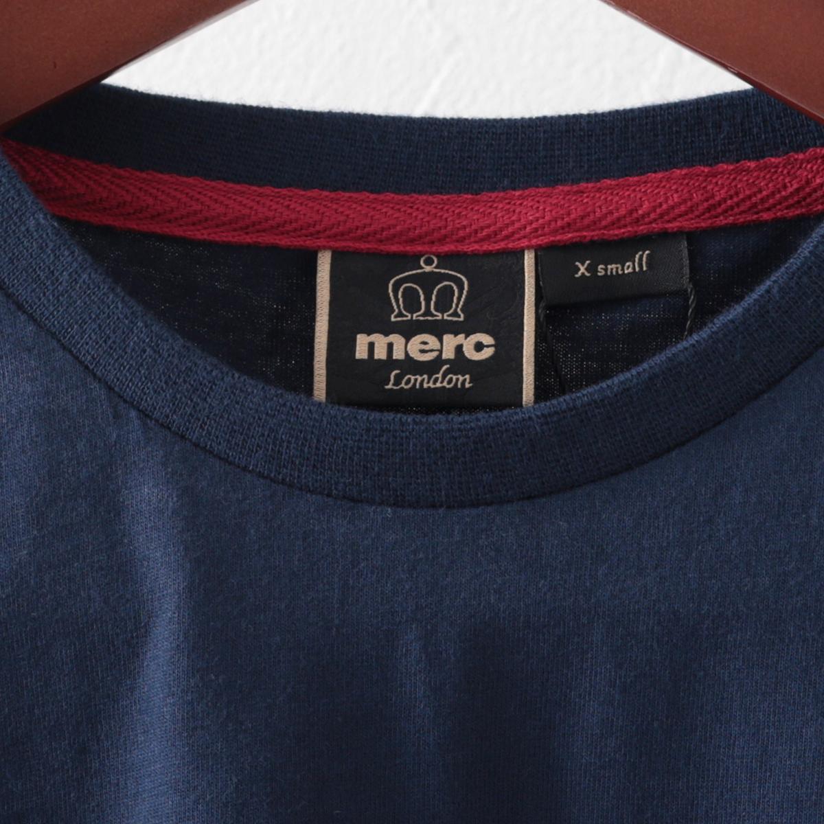 Merc London メルクロンドン メンズ Tシャツ カラーブロック ストライプ ボーダー ブラック ネイビー 2色 モッズファッション カーター