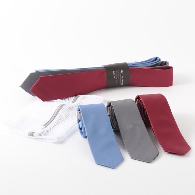 シルクネクタイ Quit Running イージーケアネクタイ 3本セット ウォッシャブル 洗濯OK 3種類 ネクタイ ハンドメイド メンズ