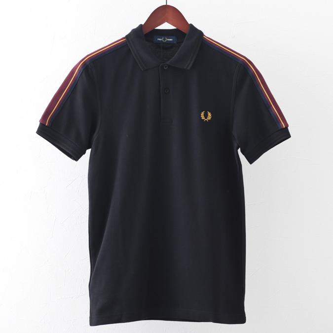 フレッドペリー ポロシャツ テープショルダー ブラック スポーツウェア メンズ Fred Perry 正規販売店