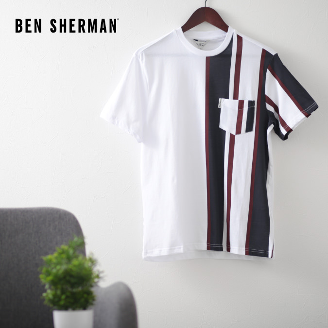 ベンシャーマン メンズ Tシャツ ストライプ バーティカル Ben Sherman ホワイト レギュラーフィット