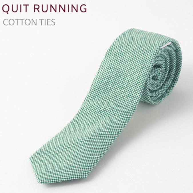 コットンネクタイ Quit Running グリーン ハウンドトゥース ネクタイ ハンドメイド クイトランニング メンズ コットン