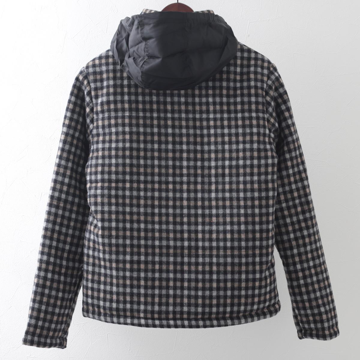 メルクロンドン メンズ チェック ウール ダウン ジャケット Merc London ウールコート モッズファッション プレゼント ギフト