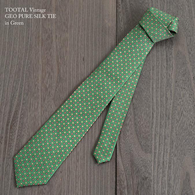 Tootal Vintage トゥータル ヴィンテージ 英国ブランド ジオメトリック グリーン ネクタイ