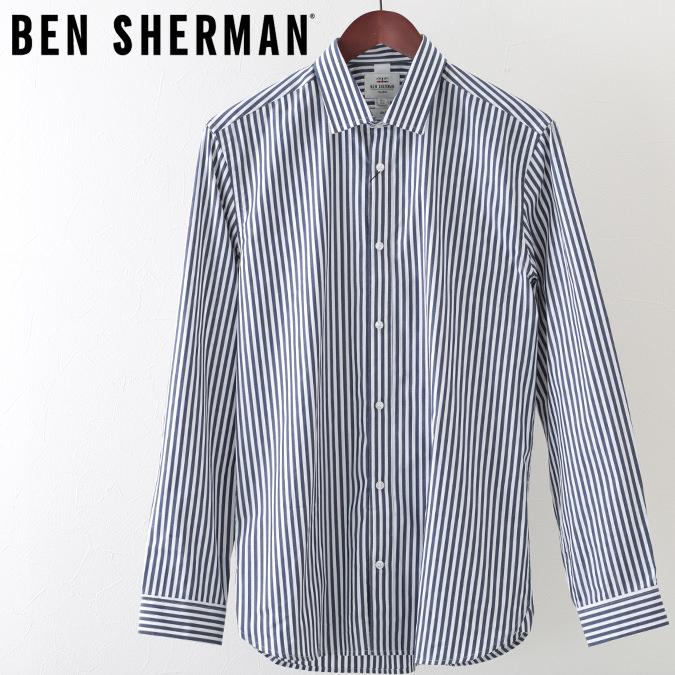 ベンシャーマン メンズ 長袖シャツ ストライプ Ben Sherman ダークネイビー フォーマル スリムフィット