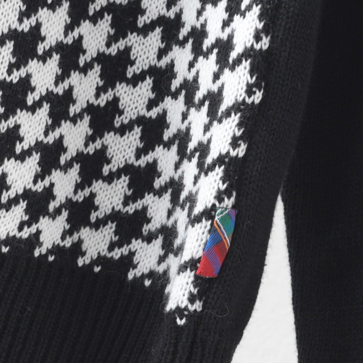 メルクロンドン メンズ ハウンドトゥース ジップスルー ニットポロシャツ Merc London 長袖 ブラック ネイビー 千鳥格子 モッズファッション プレゼント ギフト