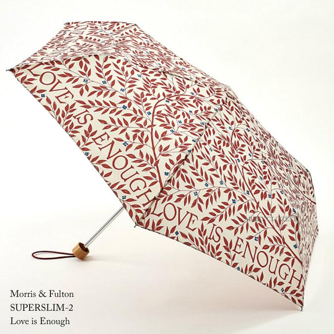 FULTON フルトン ウィリアム モリス 傘 折りたたみ傘 アンブレラ Superslim 【送料無料】 英国王室御用達 William Morris モーリス ラブ イズ  イナフ 花柄 葉っぱ レディース Folding Umbrella 正規 かさ
