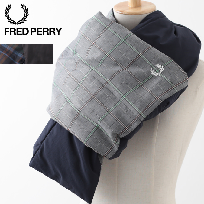 フレッドペリー メンズ リバーシブル ダウン フェザー マフラー Fred Perry ユニセックス 男女兼用 2色 ネイビー グレー レディース
