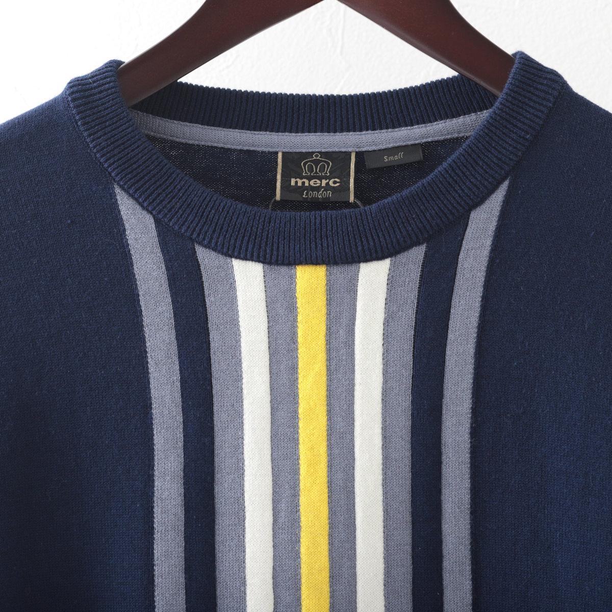 メルクロンドン メンズ ヴァーティカルストライプ セーター Merc London 長袖 ダークセージ ネイビー 2色 モッズファッション プレゼント ギフト