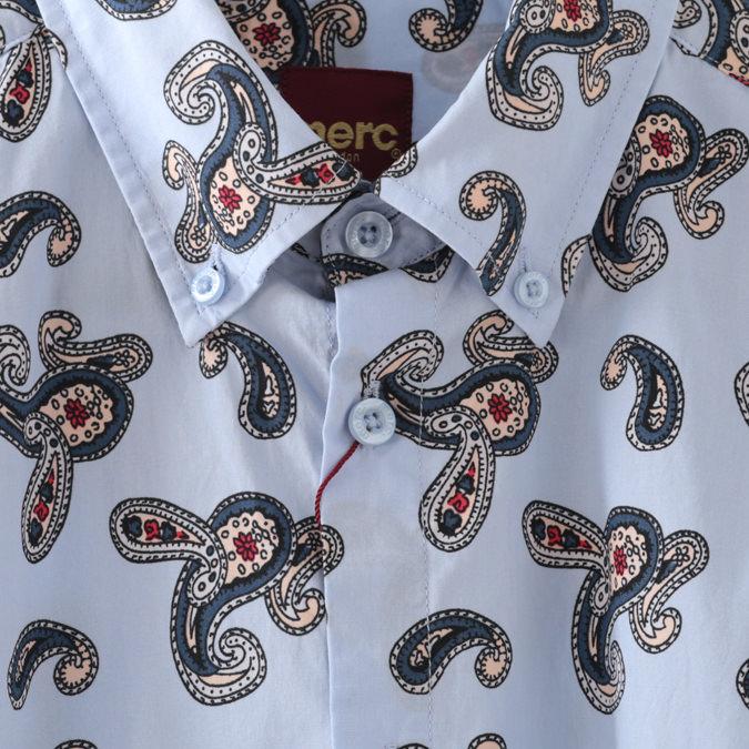 半袖シャツ ペイズリープリント モッズ 2色 ブラック ボーイブルー メンズ Merc London メルクロンドン