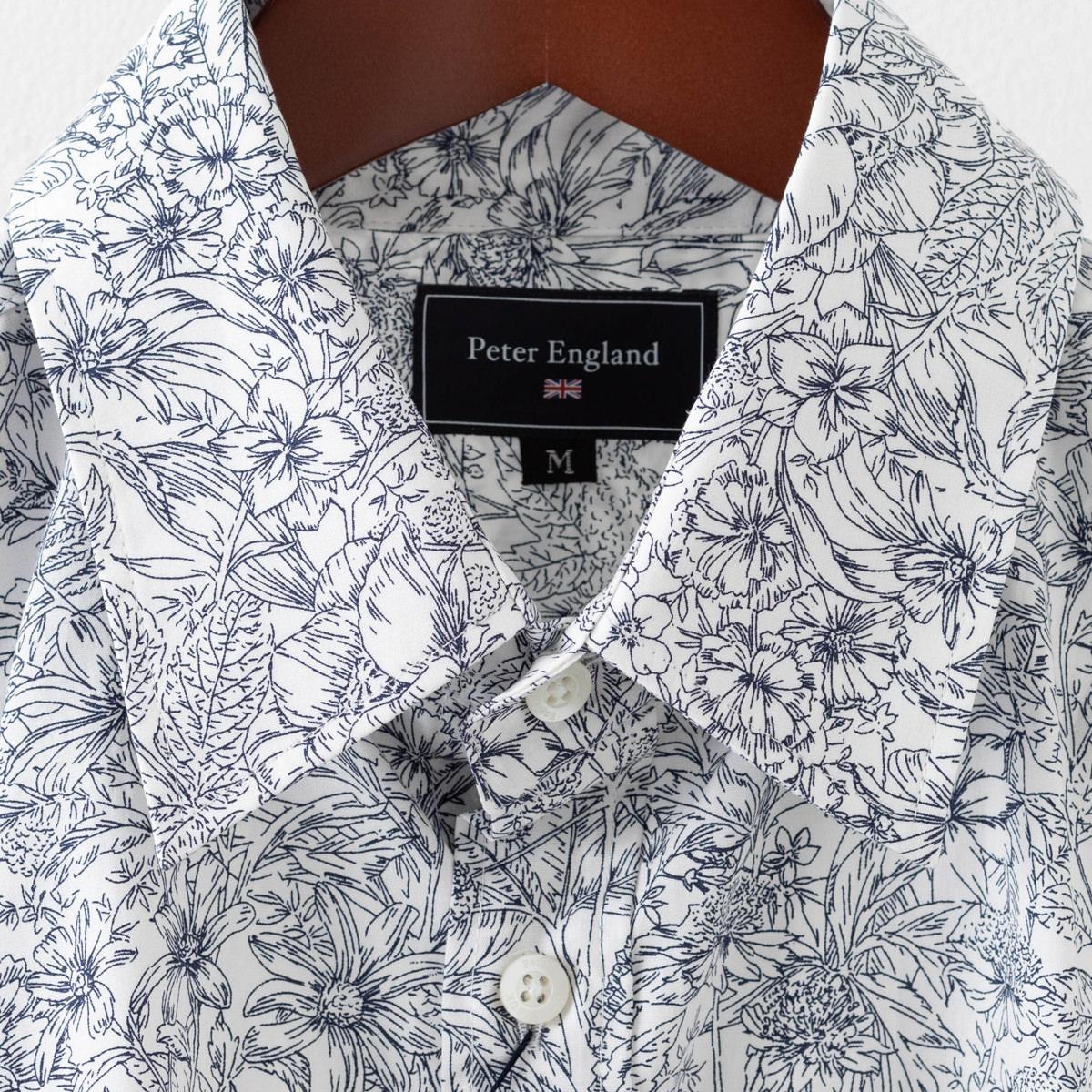 英国老舗ブランド 日本縫製 メンズ 長袖シャツ ボタニカルプリント ホワイト ネイビー UKデザイン プレミアムコットン カジュアル ピーターイングランド