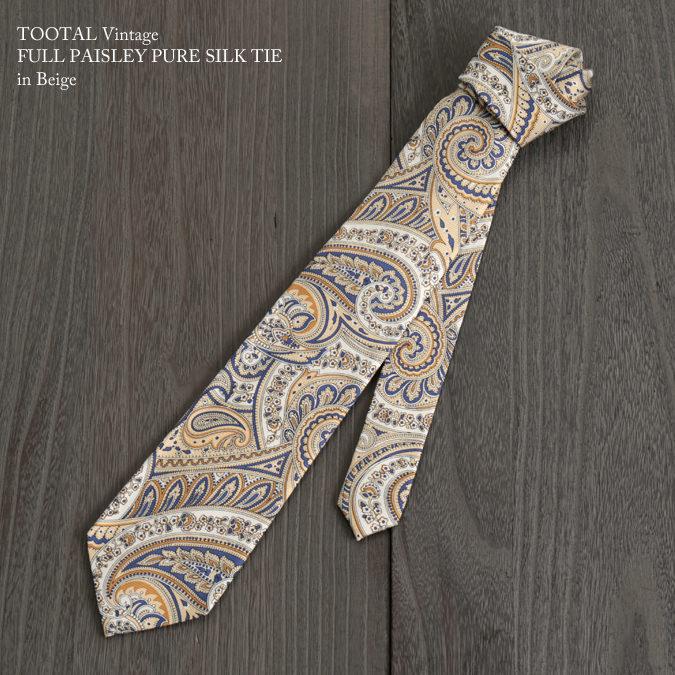 Tootal Vintage トゥータル ヴィンテージ 英国ブランド ペイズリー ネクタイ ベージュ