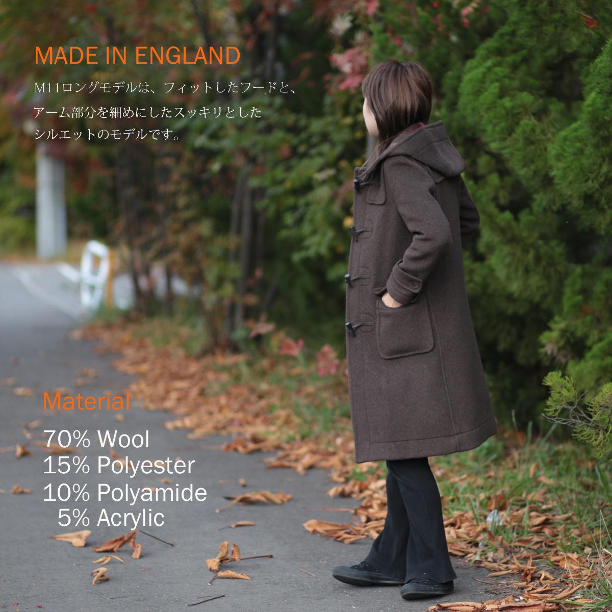 LONDON TRADITIONAW レディース ロングダッフルコート M-11 英国製 ウール ナツメグ ロンドントラディション チェック 上着 MADE IN ENGLAND ギフト 長い 厚手 防寒 トラッド