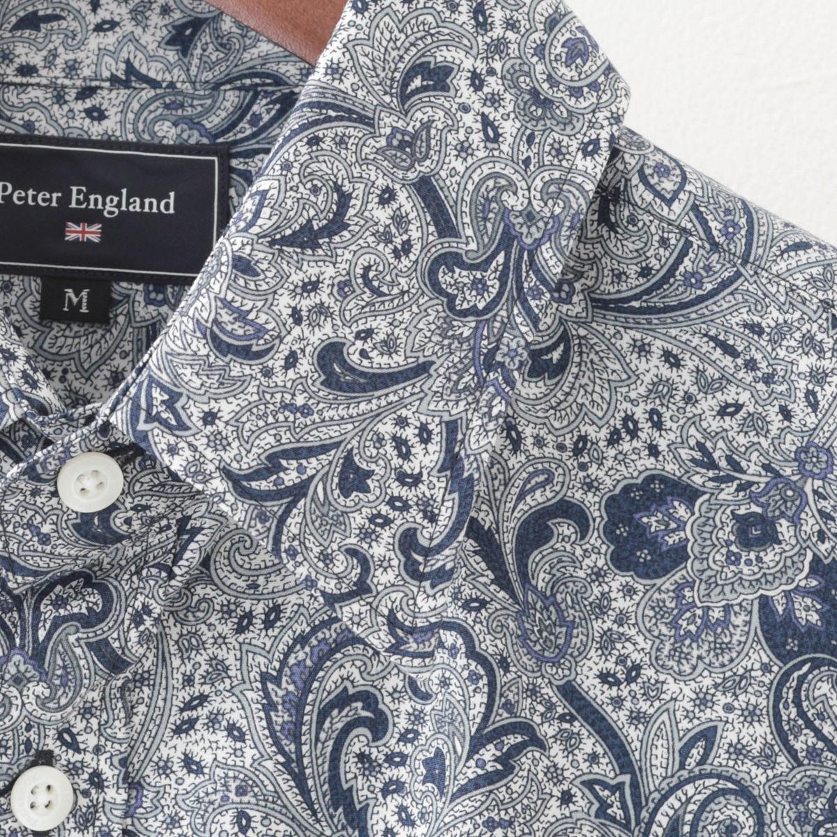 英国老舗ブランド 日本縫製 メンズ 長袖シャツ ペイズリープリント ホワイト コットン UKデザイン プレミアムコットン カジュアル ピーターイングランド