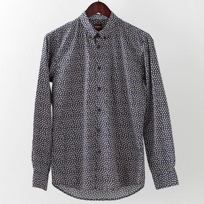 長袖シャツ リーフプリント 2色 ネイビー オフホワイト メンズ Merc London メルクロンドン