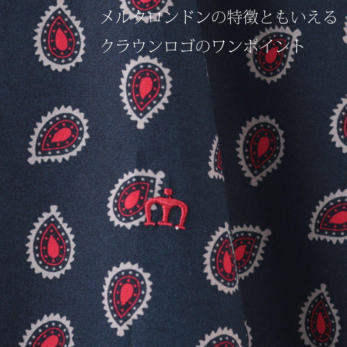 メルクロンドン メンズ ペイズリー 半袖シャツ Merc London ネイビー ボタンダウン モッズファッション
