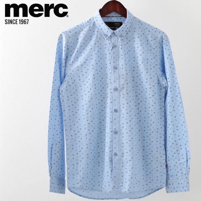 メルクロンドン メンズ 長袖シャツ Merc London スモールペイズリー オックスフォード 19SS  ブルー