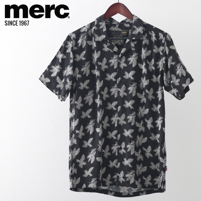 メルクロンドン メンズ フローラル 半袖シャツ Merc London アロハシャツ ブラック ヤシの木 ボタニカル モッズファッション