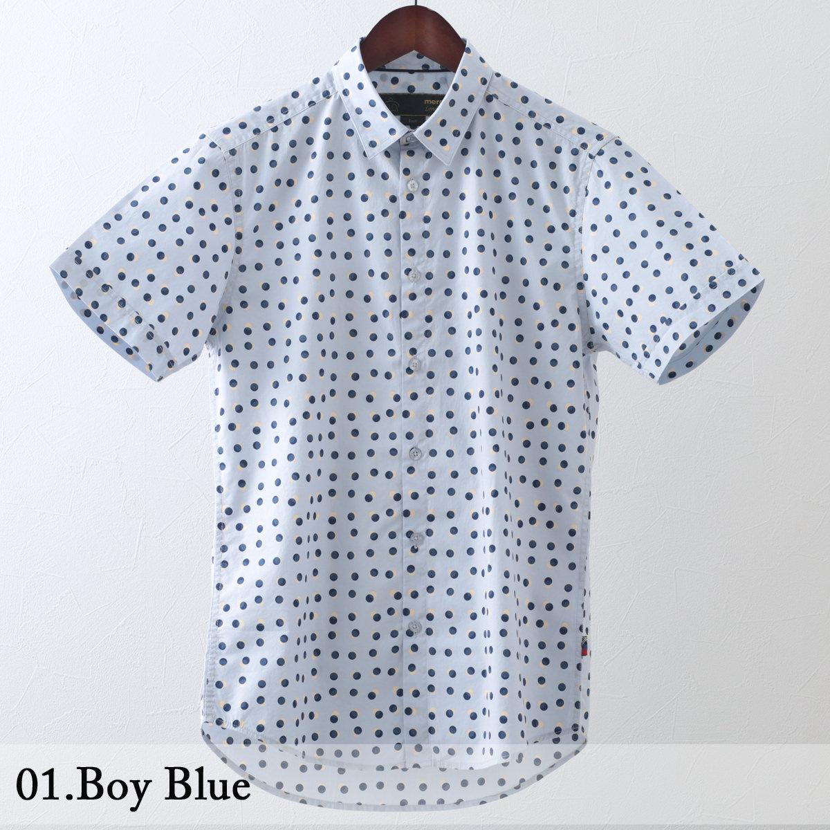 メルクロンドン メンズ 半袖シャツ 水玉 スポット Merc London 2色 ボーイブルー ブライトブルー モッズファッション