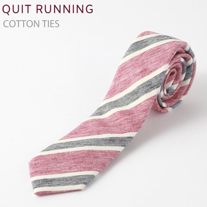 コットンネクタイ Quit Running レッドストライプ ネクタイ ハンドメイド クイトランニング メンズ コットン