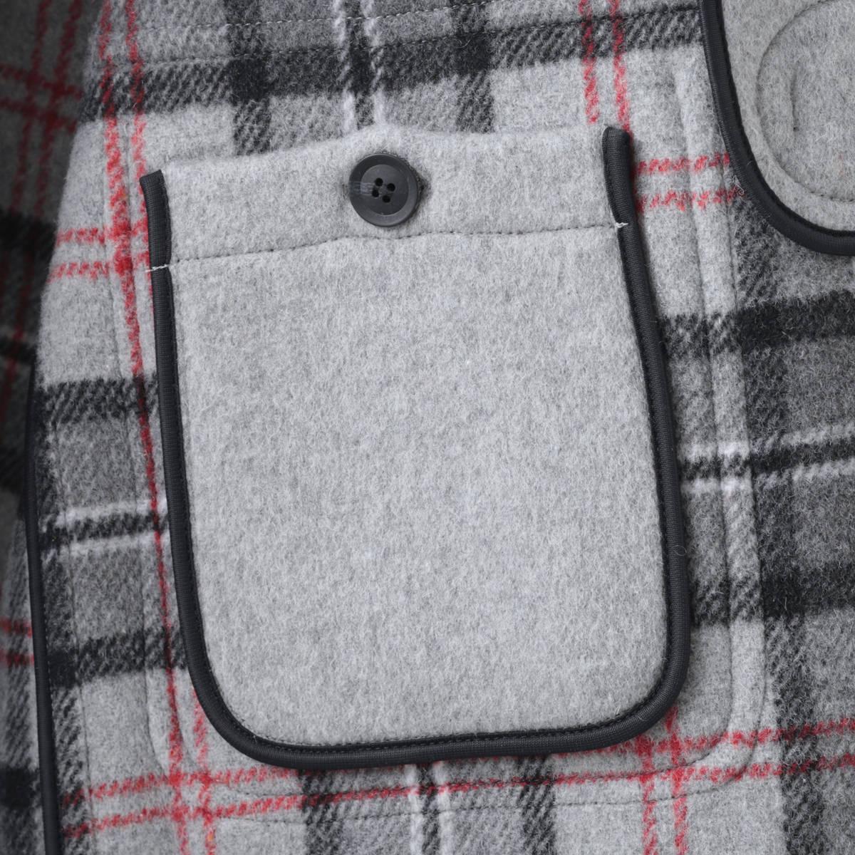 LONDON TRADITION メンズ スリムロングダッフルコート パールグレー MARTIN 秋冬 英国製 ウール ロンドントラディション マーティン チェック 上着 MADE IN ENGLAND ギフト 長い 厚手 防寒 トラッド