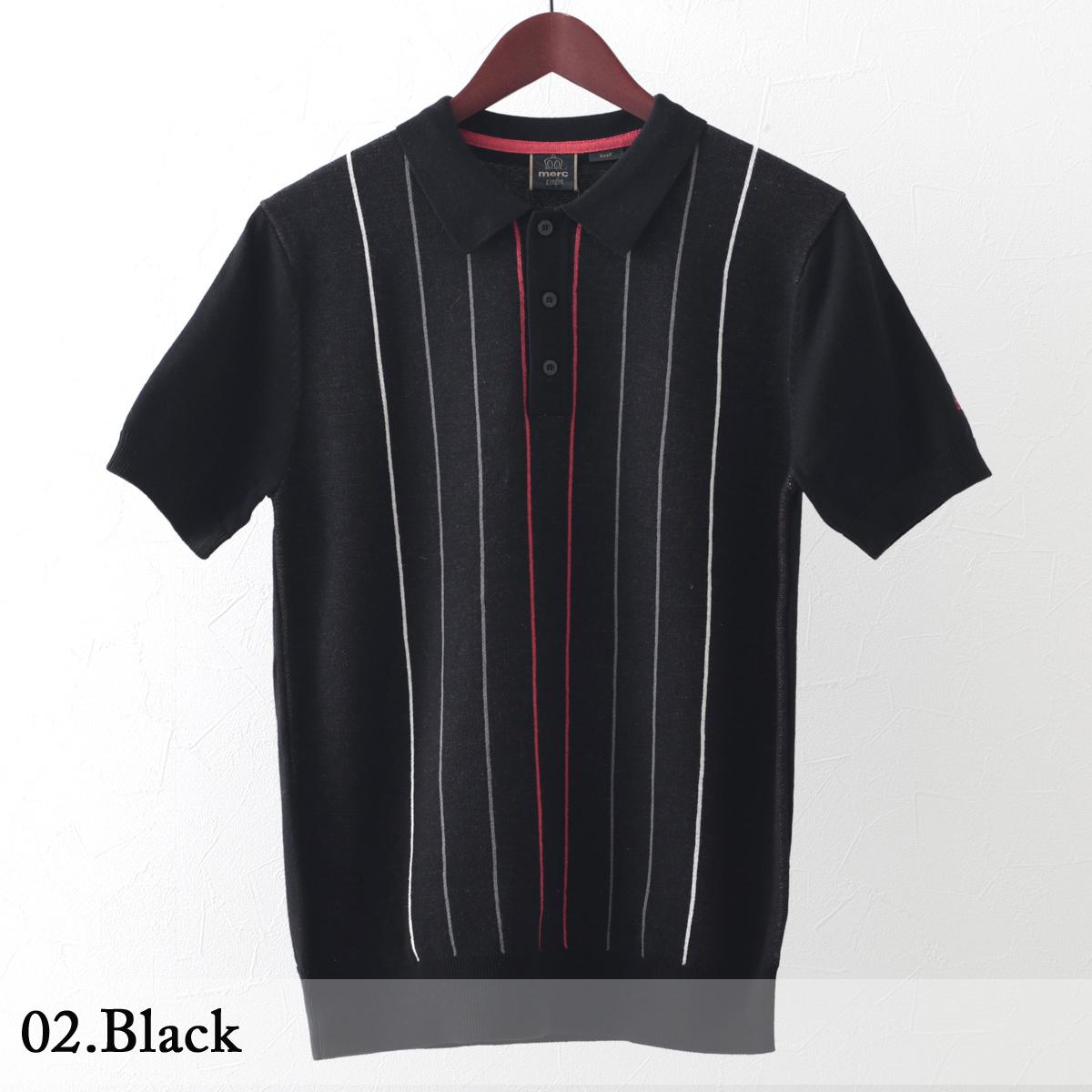 メルクロンドン メンズ ポロシャツ ポロ ストライプ バーティカル ニット Merc London 2色 ブラック ボーイブルー モッズファッション
