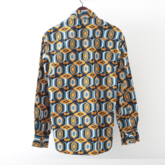 Madcap England メンズ 長袖シャツ ジオメトリック 幾何学模様 ブルーグリーン