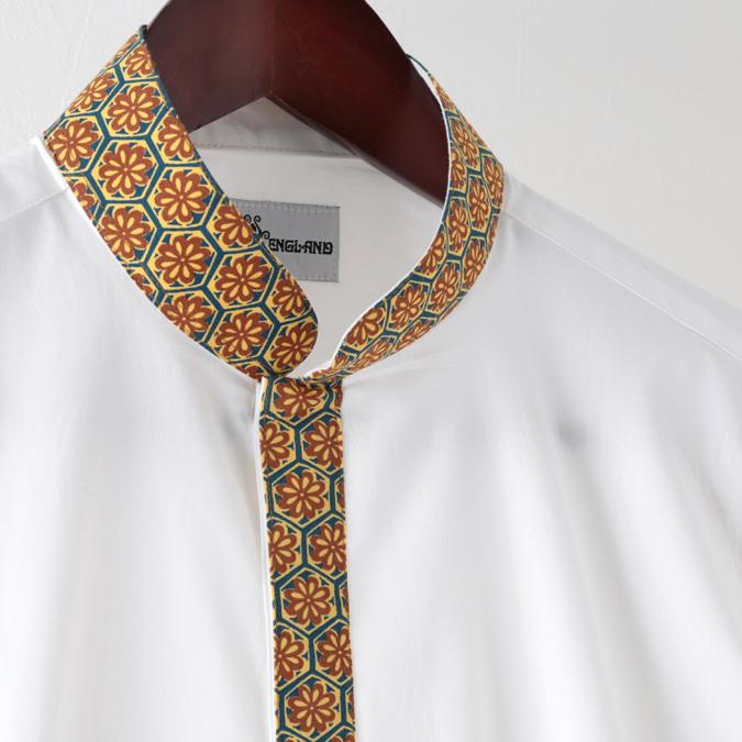 Madcap England メンズ 長袖シャツ クレリック 刺繍 花柄 19SS ホワイト トリム レトロ マッドキャップ