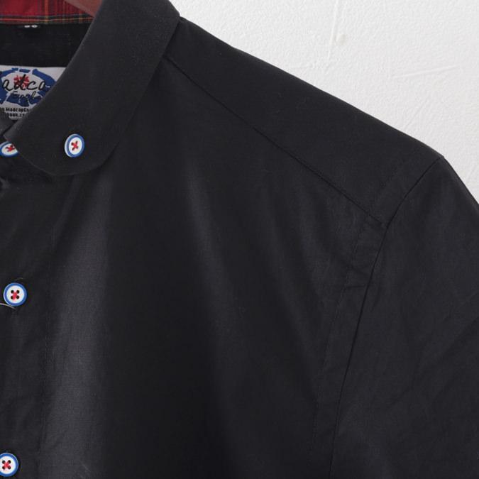 Madcap England メンズ 半袖シャツ マッドキャップ ペニーカラー 2色 ネイビー ブラック レトロ モッズ