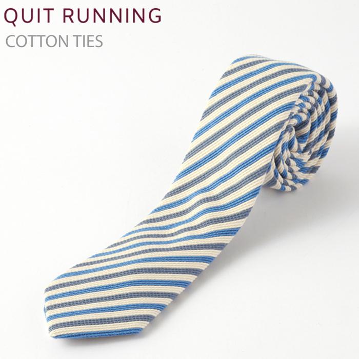 コットンネクタイ Quit Running ブルーストライプ ネクタイ ハンドメイド クイトランニング メンズ コットン