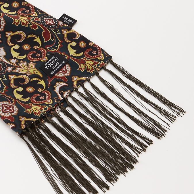 Tootal Vintage シルク スカーフ ダマスク オリジナル トゥータル ダマスク アボカド