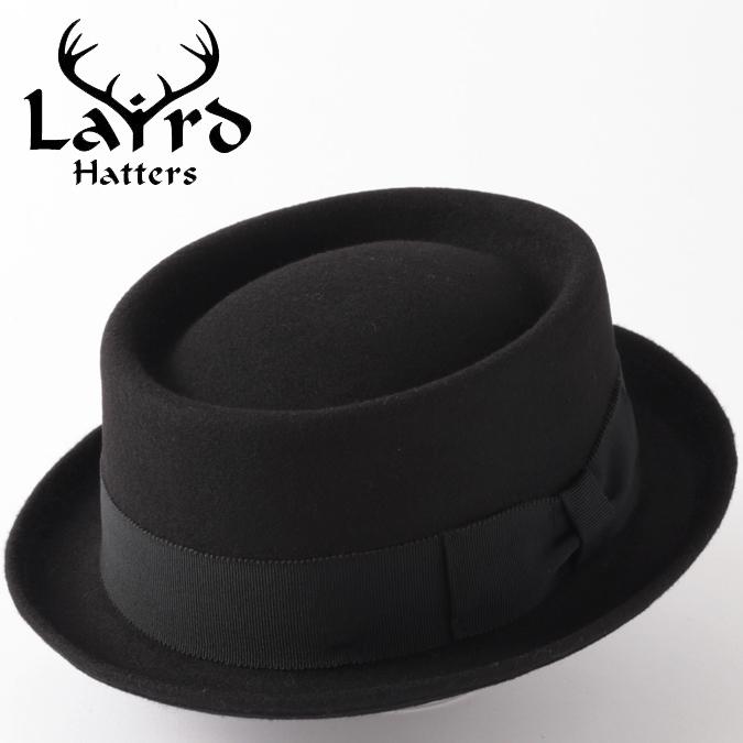Laird Hatters メンズ ポークパイ フェルトハット 英国製 ウール レアードハッター ドイル ラウンド 帽子 イギリス製 ハンドメイド ブラック