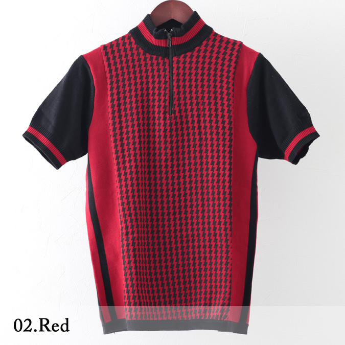 Madcap England メンズ ポロシャツ サイクリングニット ドッグトゥース 2色 ブラック レッド 千鳥格子