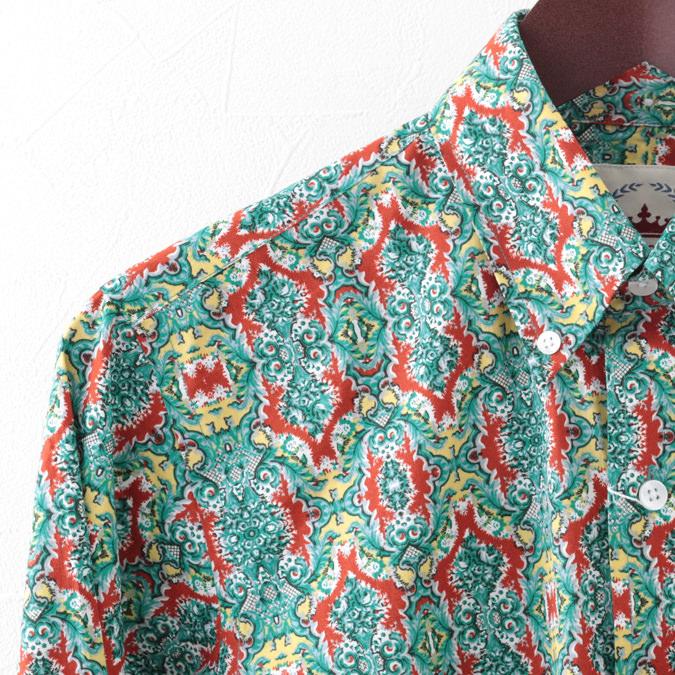 RELCO メンズ 長袖シャツ ジオプリント ジオメトリック レルコ レトロ グリーン モッズファッション