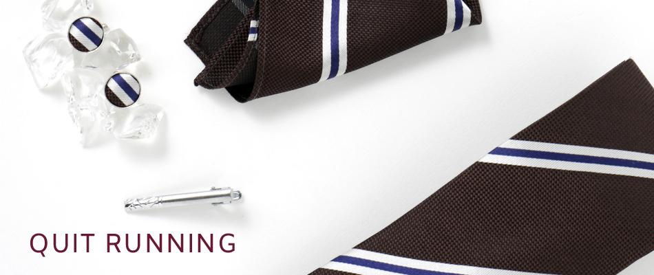 英国ブランドメンズギフト4点フルセット Quit Running ブラウン ストライプ ネクタイ ポケットチーフ タイクリップ カフス クイトランニング
