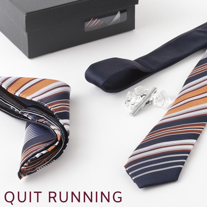 英国ブランドメンズギフト4点フルセット Quit Running マルチ ストライプ ネクタイ ポケットチーフ タイクリップ カフス