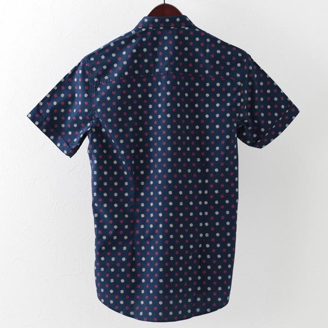 メルクロンドン メンズ 半袖シャツ Merc London ジオプリント 19SS  2色 ネイビー クール