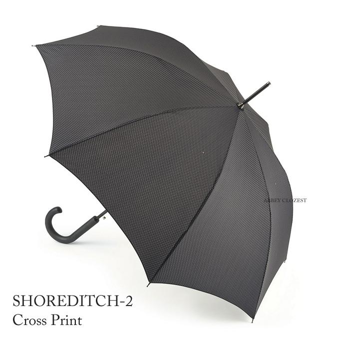 FULTON フルトン 傘 メンズ Shoreditch 紳士用 紳士 長傘  ブラック ワンタッチ ジャンプ傘