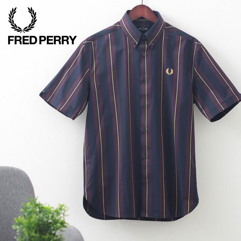 Fred Perry フレッドペリー メンズ ストライプシャツ ショートスリーブ 半袖 コットン ボタンダウン ローレルリース ネイビー 正規販売店