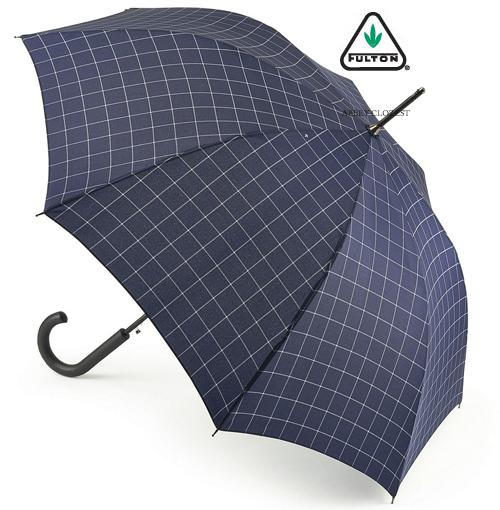FULTON フルトン 傘 メンズ Shoreditch Windowpane Check 紳士用 紳士 長傘 ウィンドウペン 傘 メンズ ワンタッチ ジャンプ傘