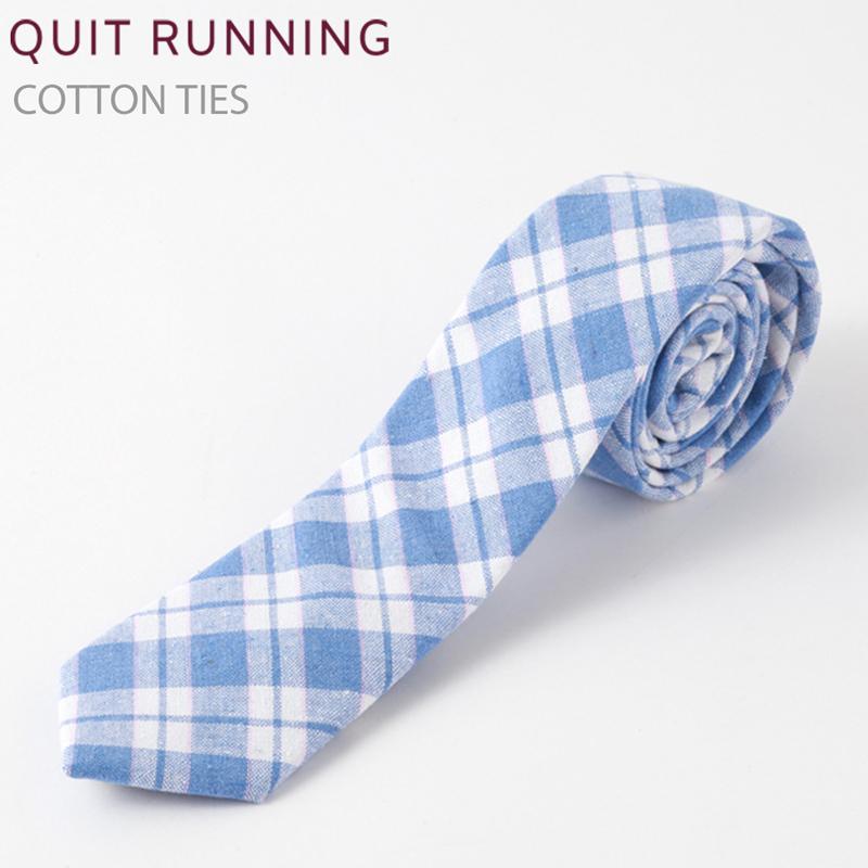 コットンネクタイ Quit Running ブルー チェック ネクタイ ハンドメイド クイトランニング メンズ コットン