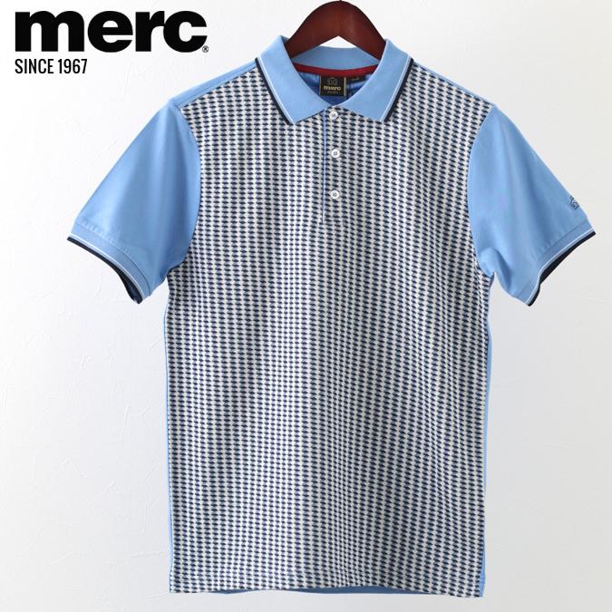 ポロシャツ ジオプリント プレミアム ダストブルー メンズ Merc London メルクロンドン