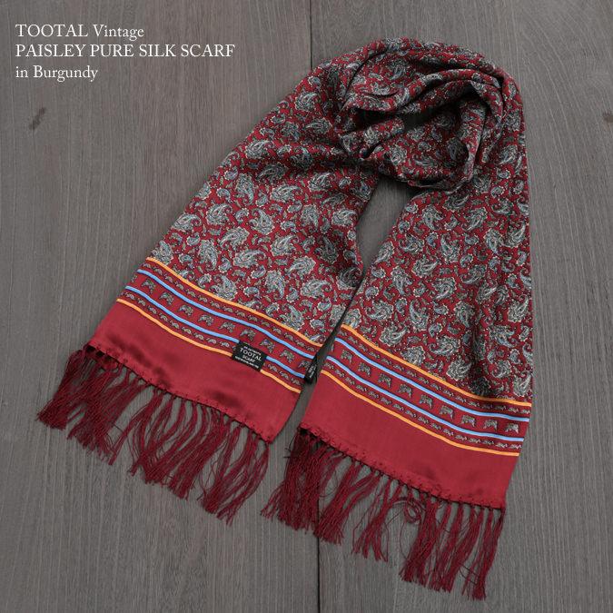 Tootal Vintage トゥータル ヴィンテージ ペイズリー シルク スカーフ バーガンディー