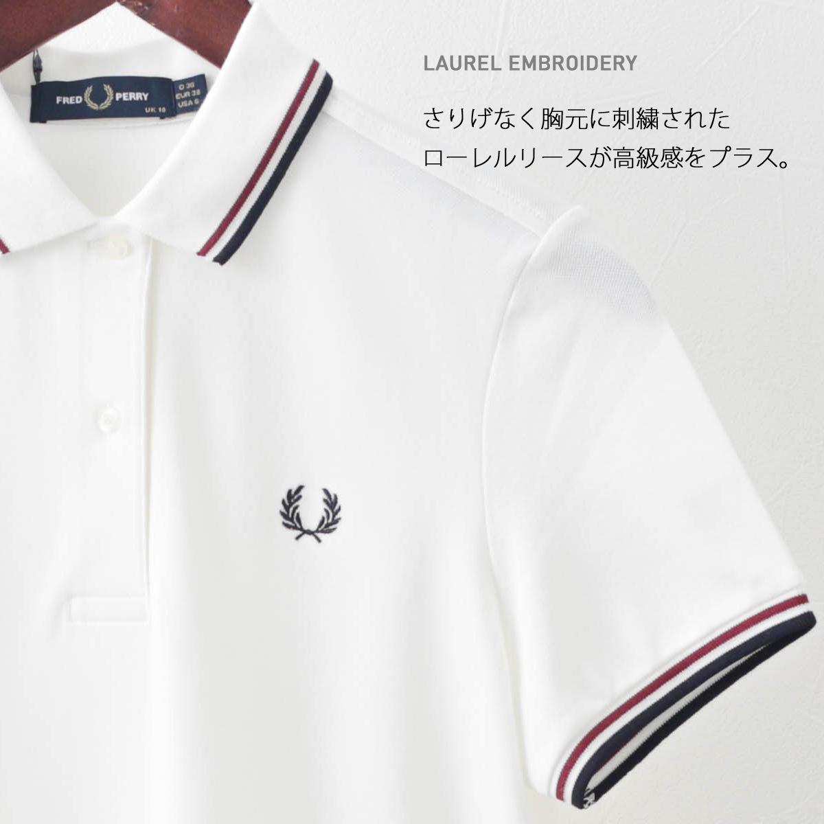 Fred Perry フレッドペリー レディース ポロシャツ ワンピース 半袖 ティップライン コットン ホワイト ブラック 2色 プレッピー 正規販売店