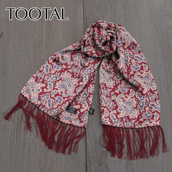 Tootal Vintage トゥータル ヴィンテージ ペイズリー シルク スカーフ ワイン